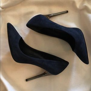 BCBG Navy Suede Pumps